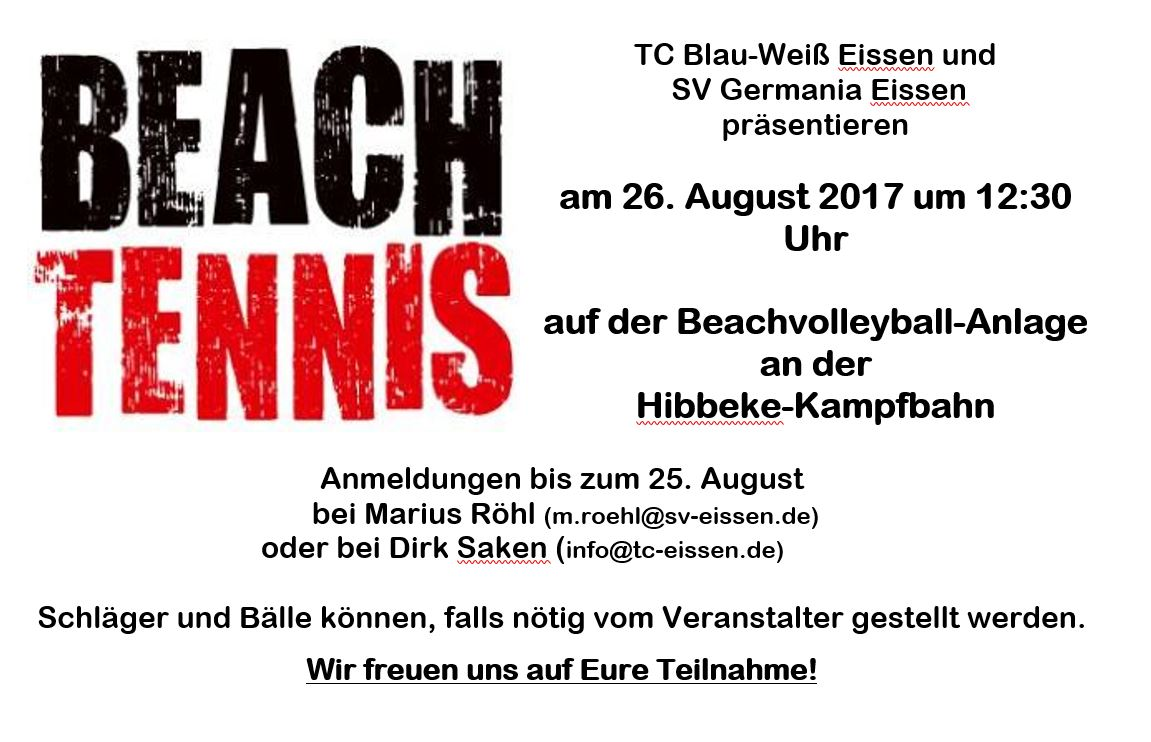 Einladung zum Beach-Tennis-Turnier in EIssen am 26. August 2017
